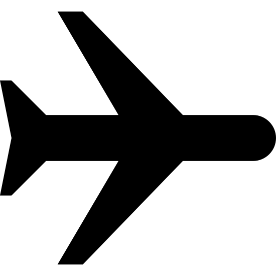 Airplane Mode On icon. This icon may be used to inform a cell phone user that their cellular signal is turned off. The logo is the outline of a typical commercial airplane that is pointing to the right.