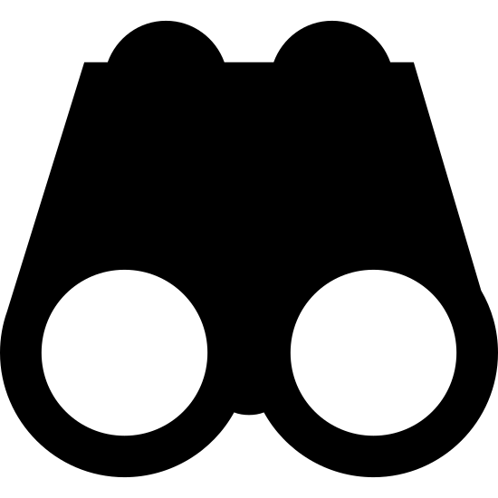 Lornetka icon. The image is depicting a perfectly symmetrical pair of binoculars. There is a circle in the middle of the binoculars where they would typically fold in, and highlights on each lens of the binoculars indicating they are glass.