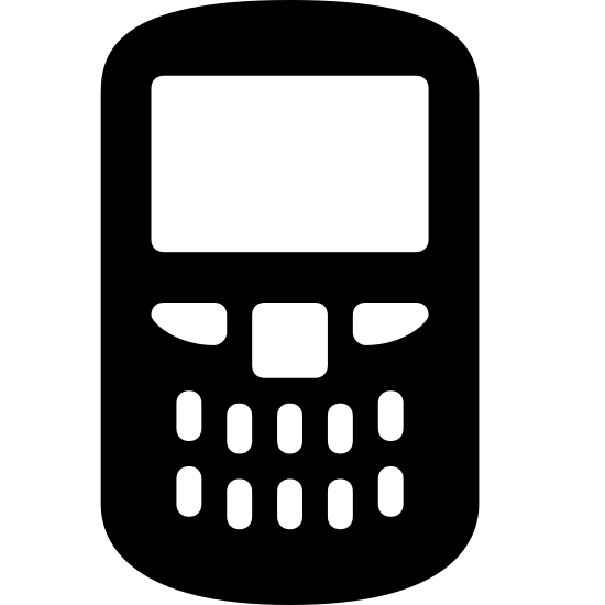 Blackberry icon. A simplified graphic of a blackberry. It's a smart phone with slightly rounded edges on top and bottom. The top half of it is all screen and the bottom half contains a physical keyboard.