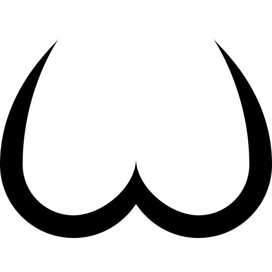 Pośladki icon. This icon depicts a person's bottom.  It consists of two curved lines, side by side.  The first line starts on the upper left and curves down towards the bottom and comes back up to make a partial tear drop shape.  The second line is the perfect opposite of the first starting at the top right and coming down the opposite way to the two lines touch in the middle.