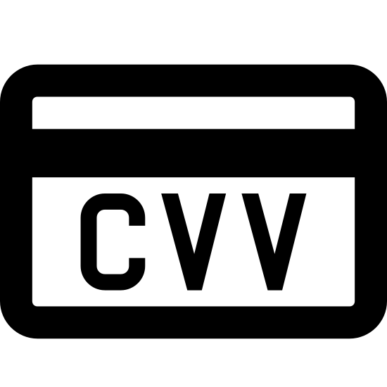Код проверки CVV icon. The icon is shaped like a rectangle with curved corners and towards the top is a shaded rectangular strip that runs left to right. There is a circle at the center of the rectangle with the letters CVV in it with horizontal lines at the top and bottom of the letters. The circle overlaps the rectangle a bit and sticks out slightly at the bottom.