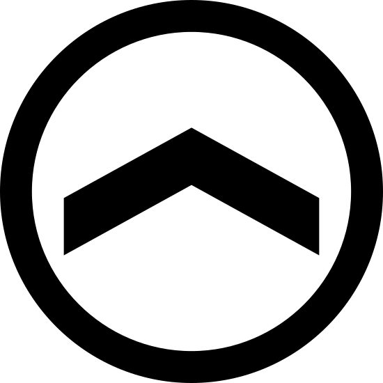 Slide Up icon. The logo is an unfilled circle, and centered on the inside is a carat simple. The carat symbol is pointed in the upwards direction, like an arrow without a tail. The carat is centered on the inside of the circle.