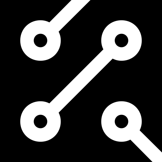 Obwód icon. This is a photo of a square with two openings. One opening is on the top, one is in the lower right corner. The openings go into circles with dots in the middle of them.