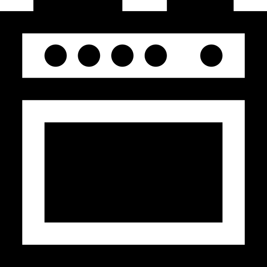 Cooker icon. This is an icon of a square cooking range with five small circles near the top to indicate control knobs. There are two dark areas on top, indicating stove-top burners. There is a rectangle in the lower two-thirds of the square, indicating the oven window. All of this rests on two small rectangular feet.