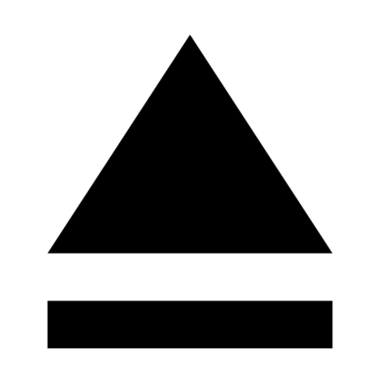 Wysuń icon. This is a picture of an eject button's logo. It has a large triangle on top, a long rectangular shaped line on bottom, with a small space in between the two. It is pointing upwards.