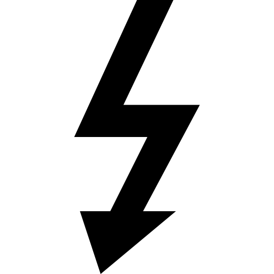 Electricity icon. This icon is a zigzag arrow pointing downwards. The arrow starts with slanted lines at the top that veer right, then downwards and slightly to the left again. The lines converge at the bottom in the shape of an arrowhead pointing downwards and slightly left.