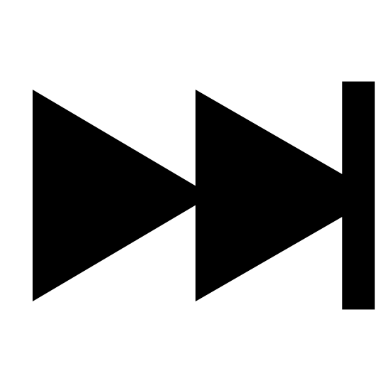 Koniec icon. The icon shows a button that would toggle a video player. It has a arrow shaped play symbol up against a bar, that would indicate an button to end playing of a video.