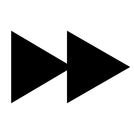 Przewiń do przodu icon. The icon shows a button that would toggle a video player. It has a two arrows side-by-side both pointing to the right, which would indicate a button to fast forward the video.