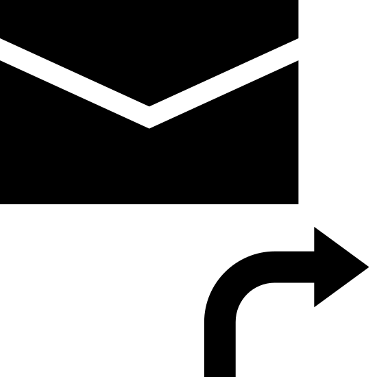Переслать сообщение icon. There is a rectangular envelope with the folded back. Underneath of it is an arrow pointing right as if to forward.