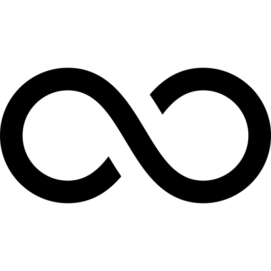 Infinity icon. The icon for Infinity is a large, vertical eight. There is a very small space where the eight meets at the middle on the top line and the bottom line.