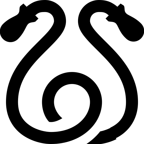 Скакалка  icon. The icon is a simplified depiction of a children's jump rope. It consists of two handles, shaped roughly like fish, with a rope coming from both handles that swerves down, and connects in a loop at the center.
