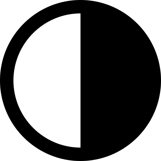 Last Quarter icon. This is an icon representing the last quarter. It is a circle split in half with a vertical line. The left side is blank and the right side has many dots in it making it look shaded.