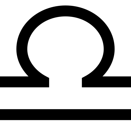 Waga icon. The icon is the symbol Libra. It is shaped like a circle with an open side on the bottom with two lines protruding left and right. There is also another line parallel to the circle's lines.