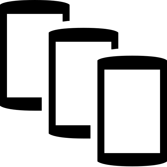 Smartphones icon. It is a drawing of three smart phones with the second placed slightly over the first, and the third placed slightly over the second, creating a cascading appearance. Each smartphone shows a rectangular screen with a single dot below it.