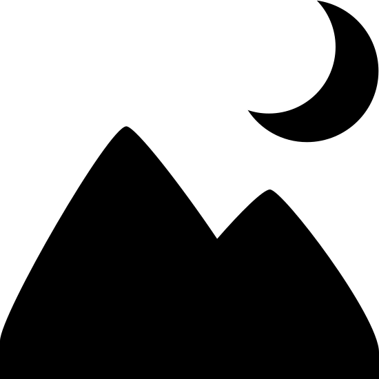 Nocny pejzaż icon. This icon contains two triangles representing mountains. The left triangle is slightly larger and overlaps the one on the right. Above the right triangle there is a crescent moon shape, with the crescent being on the right side.