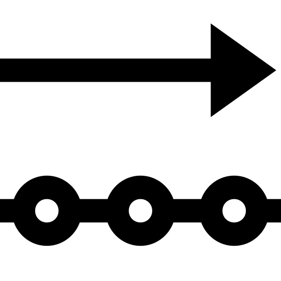 Исходящие данные icon. This is a photo of an arrow pointing to the right on the top, and below that, a line with three circles going through it. Each shape is the same length.