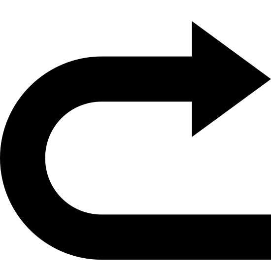 Powtórz icon. This is a picture of a right pointing arrow. The bottom of the arrow isn't congruent with the rest of it; it's facing downward and coming from the bottom right hand side.