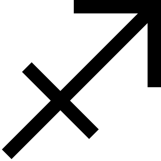 Strzelec icon. This is an icon representing the astrological sign Sagittarius. It has an arrow pointing up and to the right with a perpendicular line on the base of the arrow that is the same width as the arrow head.