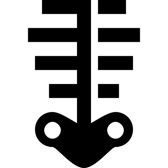 Szkielet icon. It is a very simplified skeleton. There is a centered vertical line (spine) with 4 equally-spaced horizontal lines intersecting it (horizontally centered on the vertical line), varying in width, indicating ribs. The vertical line meets a pelvis-shaped object at the bottom, which has 2 small holes/sockets.