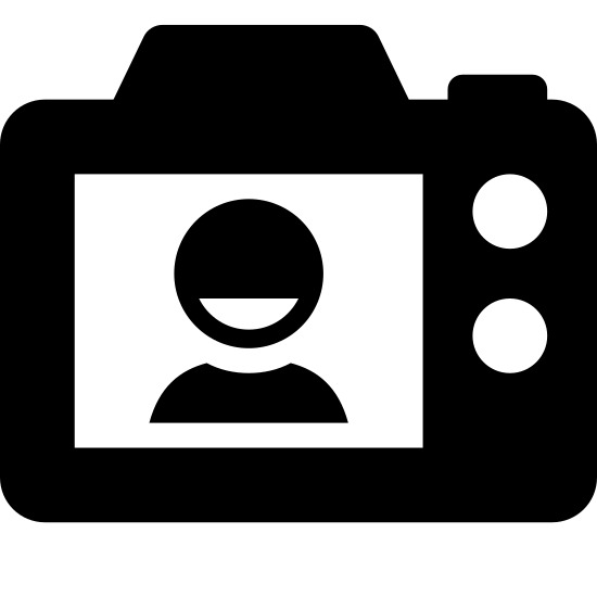 SLR Back Side icon. It is a simple line drawing of the back of a camera. It shows a silhouette of a man on what appears to be a LCD screen. To the right of the screen are 3 buttons 1 on top and 2 below that.