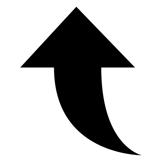 Up 3 icon. This icon is representing Up 3. It is an arrow pointing upwards with the base of it curving to the right side of the icon and coming to a point.