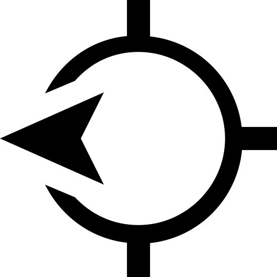 West Direction icon. It's an icon with a almost fully closed circle with a solid black arrow tip interrupting the closure. At the top center and directly below it are vertical lines going through the line of the circle but they are not connected as one line. Opposite to the arrow which is on the left of the circle, to the right is also a line like at the top and bottom but this one lays horizontal.