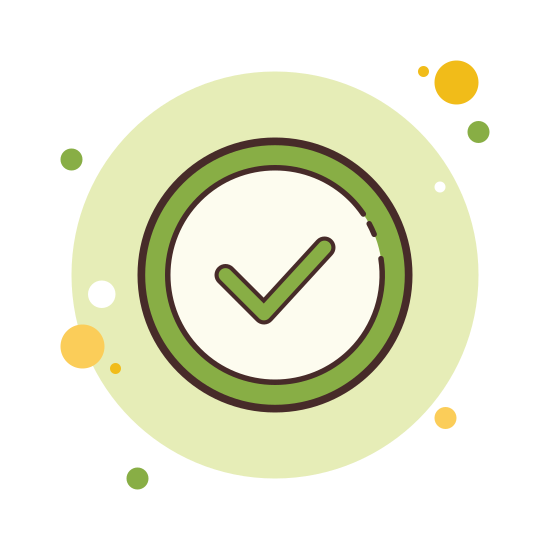 Geprüft icon. The icon is shaped like a circle but the top right corner of it doesn't fully connect. At the center of the circle is a check mark. The end of the check mark sticks out the opening in the circle a bit.