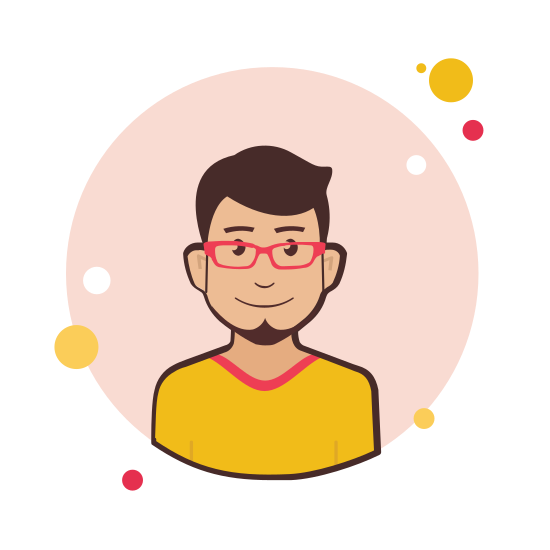 Man in Red Glasses and Yellow Shirt icon