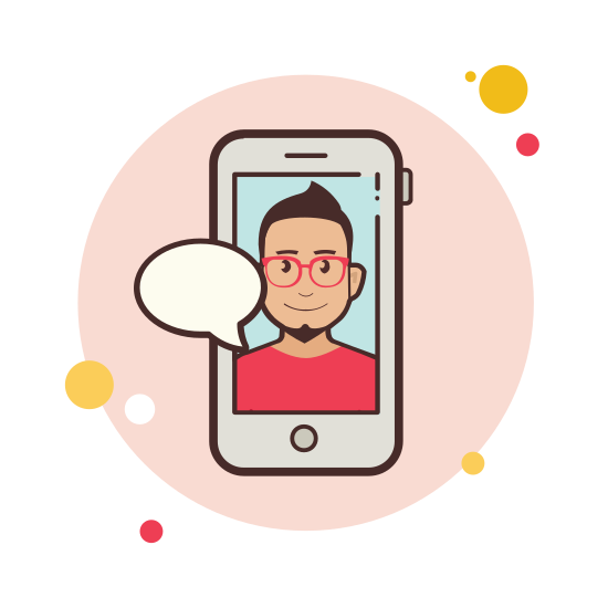 Man in Red Shirt Messaging icon