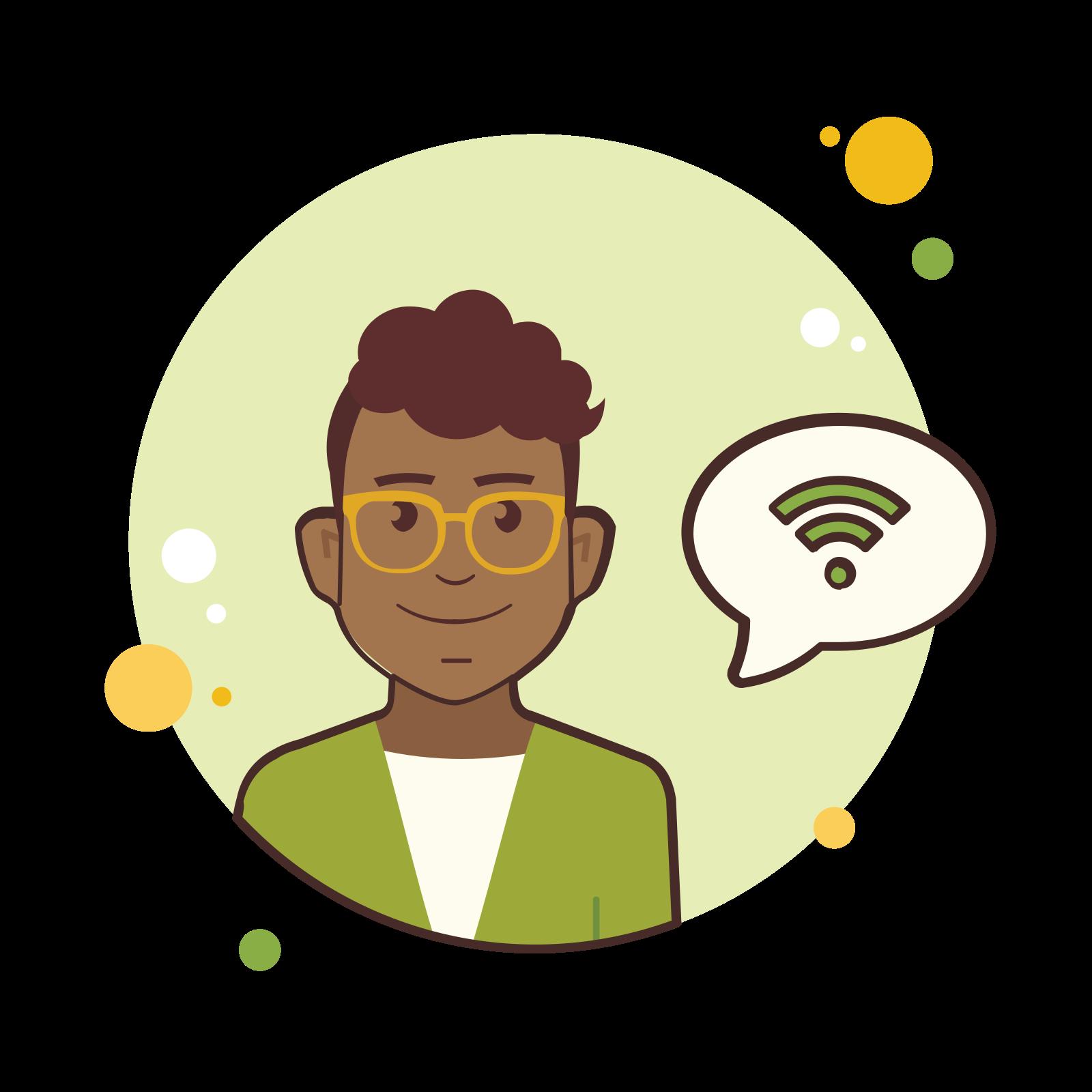 Man in Yellow Glasses Wi Fi icon