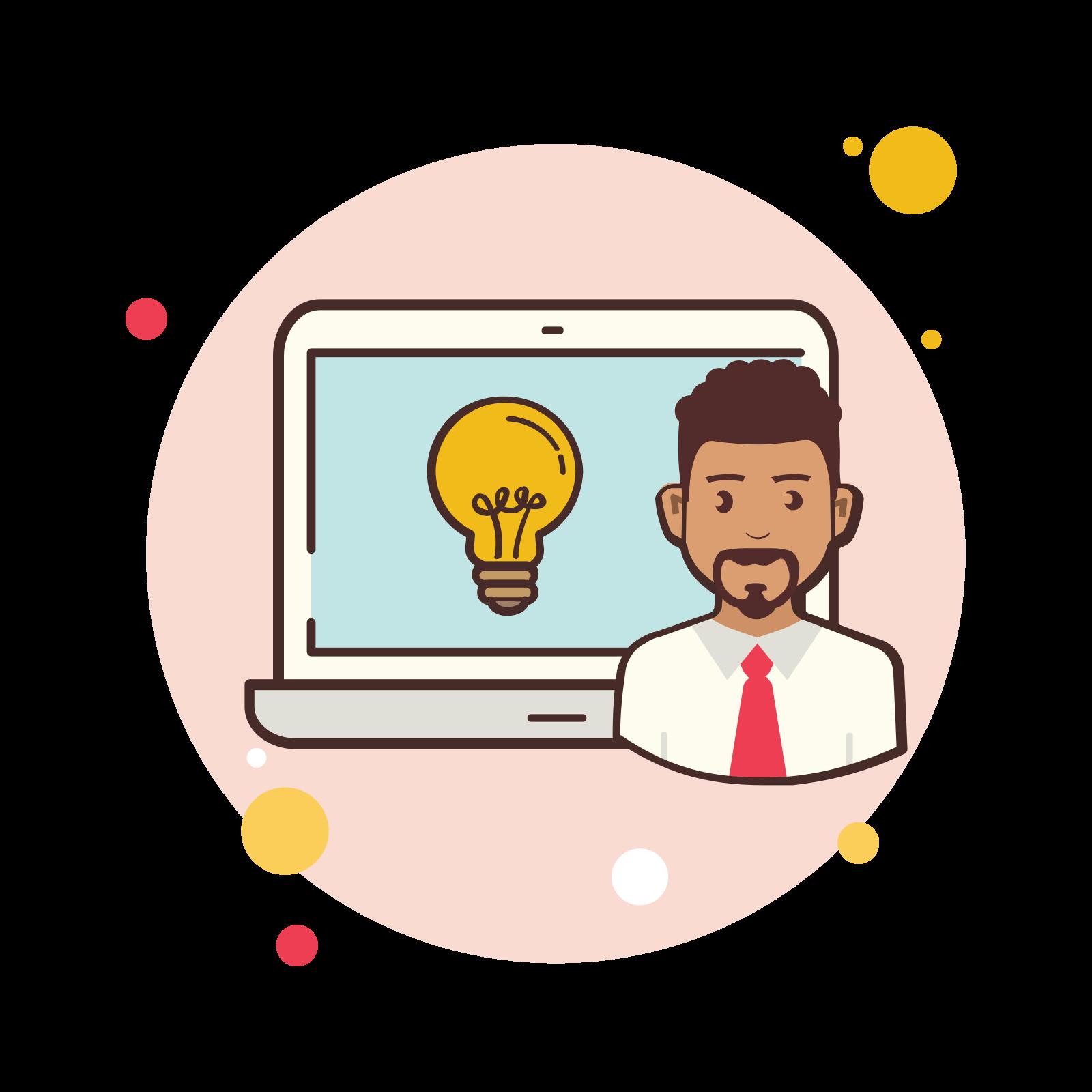 Man Laptop Idea icon