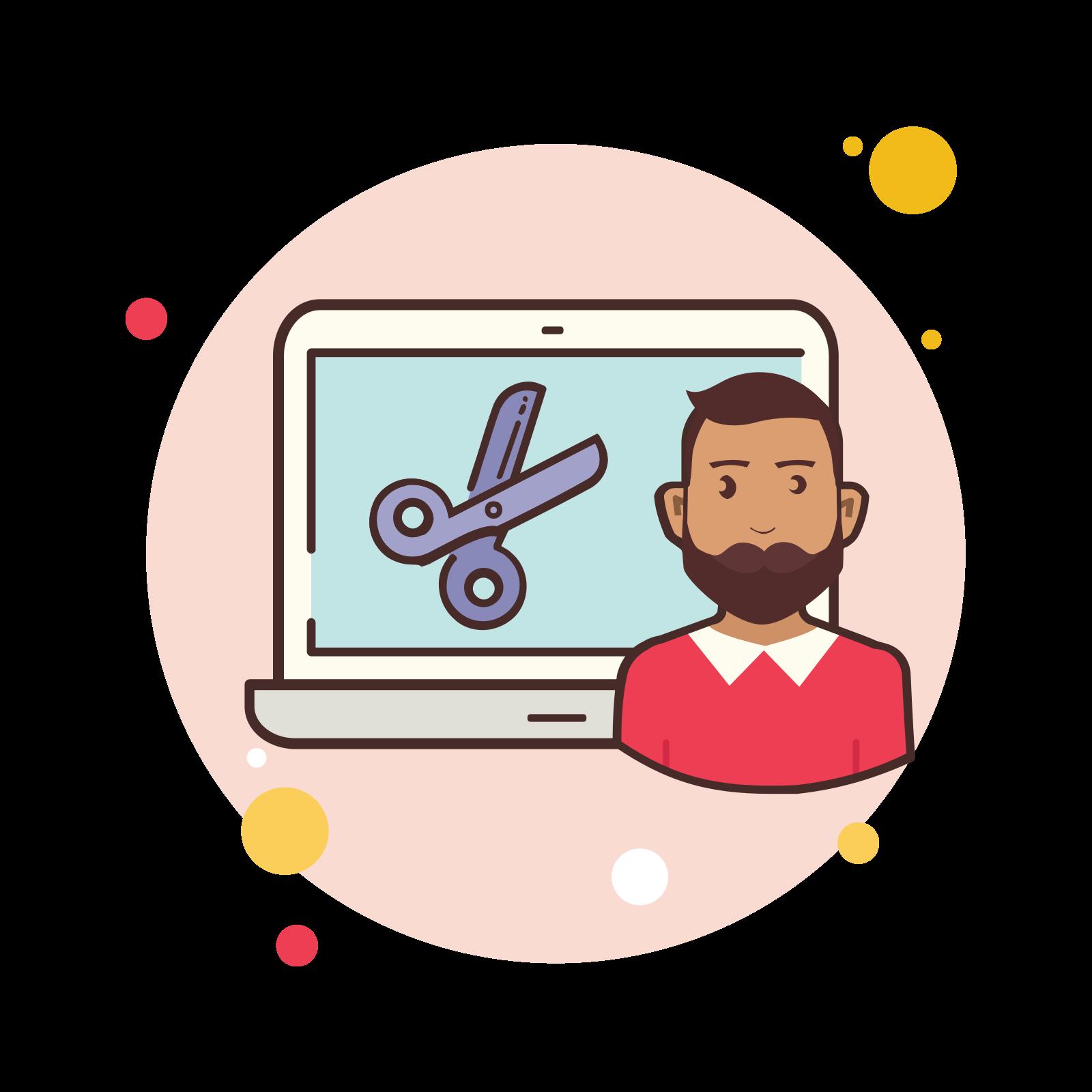 Man Laptop Scissors icon