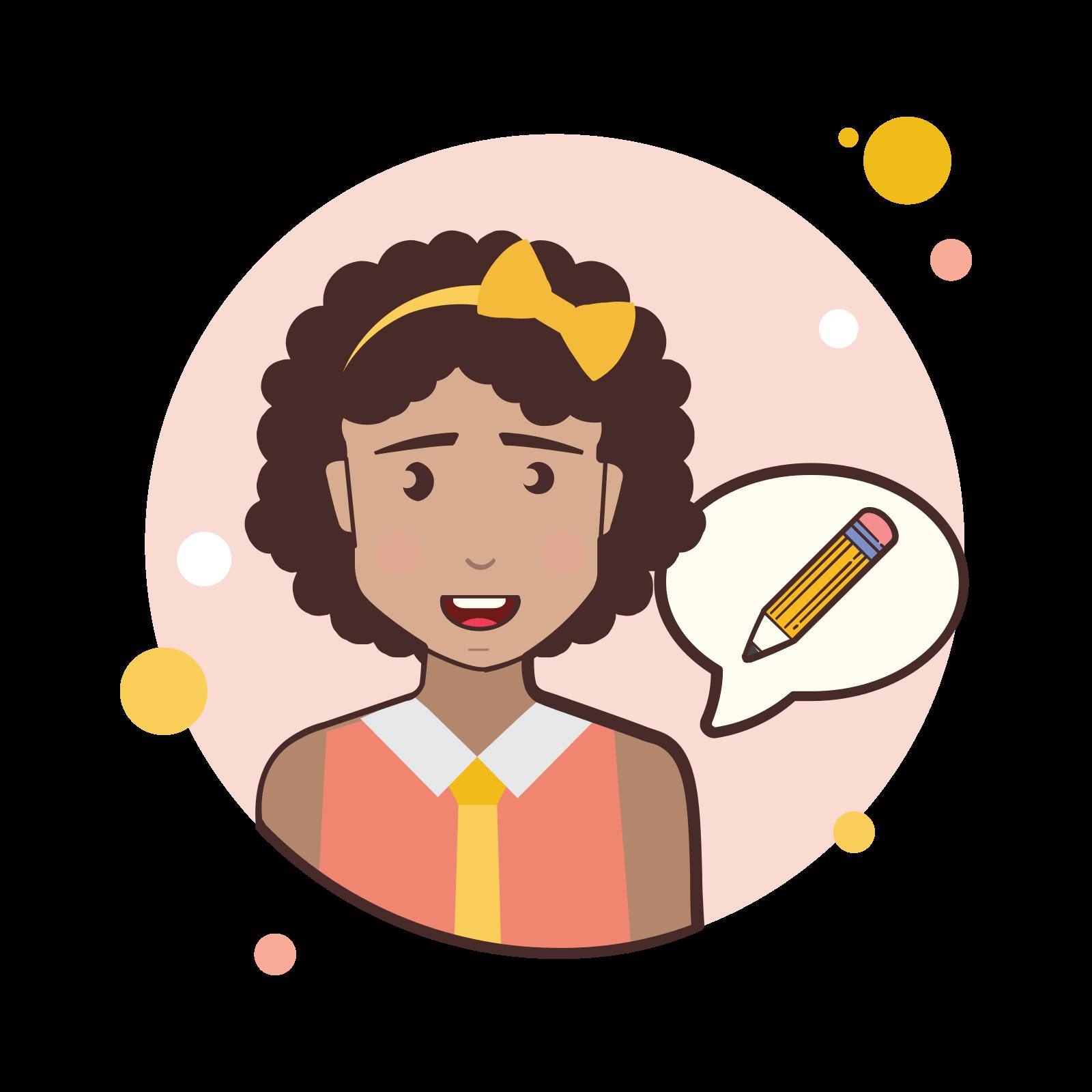 Short Curly Hair Girl Pencil icon
