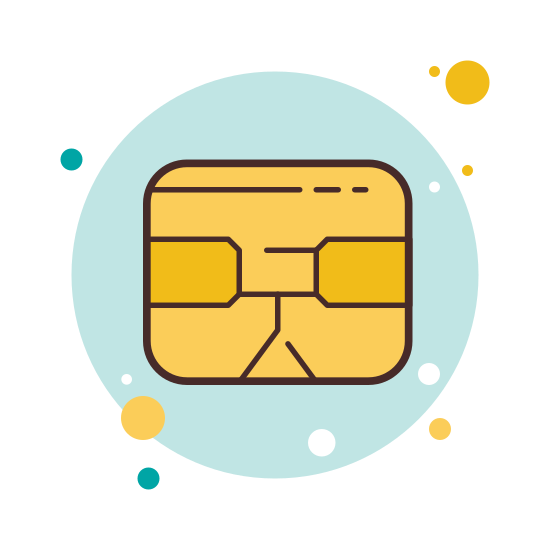 Chip Card icon. This icon represents a sim card chip. It is a small rectangle shape with rounded corners. The inside of the rectangle has many different designs with rounded and straight edges with two hook designs at the top corners.