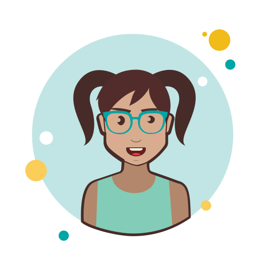 Two Ponytails Hair Lady With Green Glasses icon