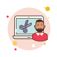 man laptop-scissors icon