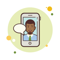 man with-green-tie-messaging icon