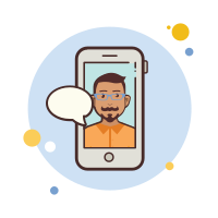 man with-mustaches-messaging icon