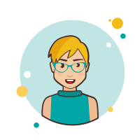 Blond Short Hair Lady With Blue Glasses icon