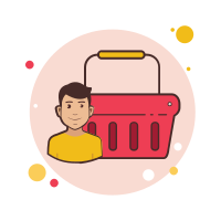 Man Red Shopping Basket icon