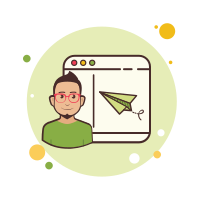 Man Window Paper Plane icon