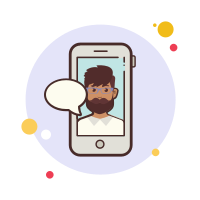 man with-beard-messaging icon
