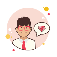 Man With Red Glasses Gem icon