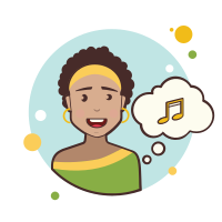Short Curly Hair Girl Musical Notes icon