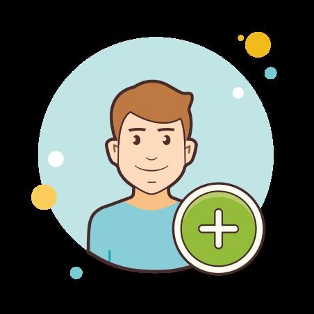 Add User Male icon in Circle Bubbles