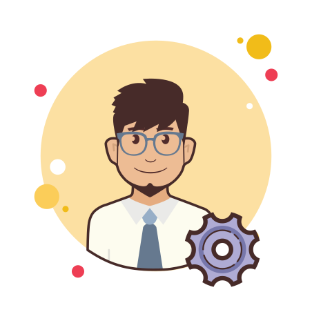 Admin Settings Male icon in Circle Bubbles