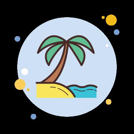 Beach icon in Circle Bubbles