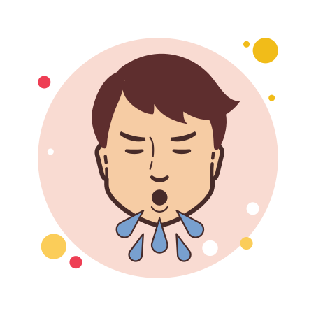 Coughing icon in Circle Bubbles
