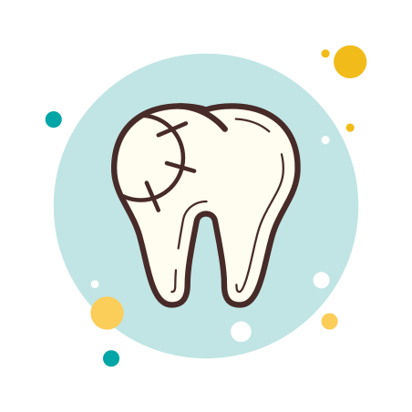 Dental Filling icon in Circle Bubbles