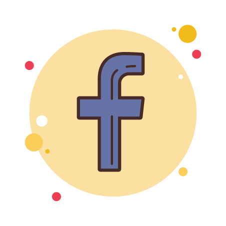 Facebook F icon in Circle Bubbles